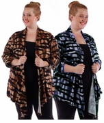 SALE! Animal Print Brown Blue Gray & Black Plus Size Cardigan Jackets 4x 5x 6x