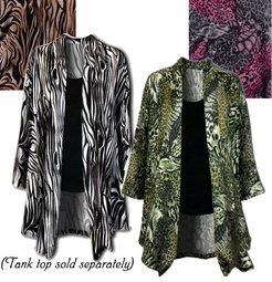 SOLD OUT! Animal Print in Black, Pink, Brown or Green! Lightweight Plus Size Stretchy Sweater Jackets