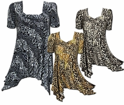 SOLD OUT!Animal Print Slinky Plus Size Babydoll Tops! Sizes 4x
