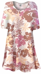 SOLD OUT! CLEARANCE! Autumn Floral Print Plus Size & Supersize Extra Long T-Shirts 2x 6x