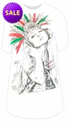 FINAL CLEARANCE SALE! Aztec Girl Rock Burnout Print Long Plus Size T-Shirt M L XL