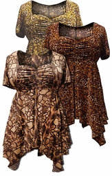 SOLD OUT! Babydoll Plus Size Supersize Slinky Tops! Rust Tan Cheetah or Beige & Brown Print Sizes 4x 5x 6x