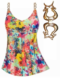 CLEARANCE! Plus Size Babydoll Style Swim Tank in Multicolor Painted Floral Print Swimsuit 0x