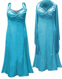 SOLD OUT! Customizable Beautiful 2-Piece Turquoise Glittery Satin - Plus Size & SuperSize Princess Seam Dress Set 0x 1x 2x 3x 4x 5x 6x 7x 8x 9x