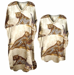 SOLD OUT! Beautiful Wild Safari Leopard and Giraffe Print Poly/Satin Plus Size & Supersize Caftan Dress or Shirt 1x to 6x