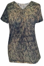 SOLD OUT!  Beige Black Lace Tie Dye Plus Size T-Shirt 4x