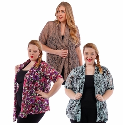 SALE! Lacestyle Floral Printed Cardigan Jacket Plus Size 4x 5x