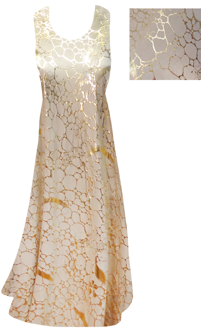 Sold Out Sale Beige With Gold Metallic Shiny Slinky Print Princess