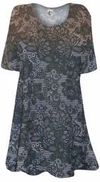 SALE! Black Lace Flower Netting Print Plus Size & Supersize Extra Long T-Shirts 3x