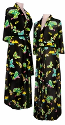 SOLD OUT! Black Bright Butterfly Plus Size Satin Robe - Beautiful Poly/Satin Print Plus Size & Supersize