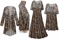 SOLD OUT! Black & Brown Animal Slinky Print - Plus Size Slinky Dresses Shirts Jackets Pants Palazzo�s & Skirts - Sizes Lg to 9x