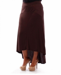 SALE! Brown Red Knit Cascade Plus Size Maxi Skirt 4x 5x 6x
