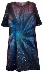 SALE! Galaxy Space Black Burst Tie Dye Plus Size Short Sleeve or Long Sleeve T-Shirt L XL 2x 3x 4x 5x 6x