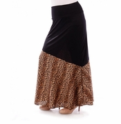 SOLD OUT! SALE! Black & Brown Leopard Half Print Plus Size Maxi Skirt 5x