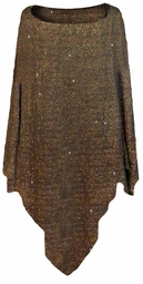 SALE! Plus Size Black & Gold Glimmer Slinky Poncho One Size