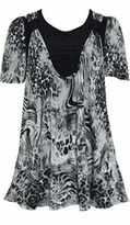 SOLD OUT! SALE! Black & Gray Charcoal Animal Stripes & Dots Short Sleeve Double Layer Plus Size Tunic Top 6x