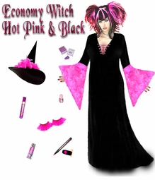 SALE! Economy Black & Hot Pink Plus Size Witch Costume & Accessories! Plus Size & Supersize Halloween Costume + Kit1x 2x 3x 4x 5x 6x 7x 8x 9x
