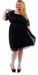 SOLD OUT! SALE! Black Crochet Short Sleeve With Liner Plus Size Mid Length Dress 4x