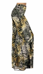 SOLD OUT! Black Lace Yellow Leopard Print Slinky Special Order Customizable Plus Size & Supersize Pants, Capri's, Palazzos or Skirts! Lg to 9x