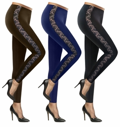 SALE! Black, Navy or Brown Stretchy Side Lace Plus Size Leggings L XL 0x 1x 2x 3x 4x 5x 6x