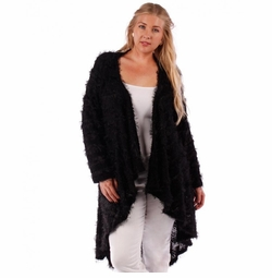 SOLD OUT! SALE! Black Striped Mohair Cardigan Jacket Plus Size 4x 5x 6x