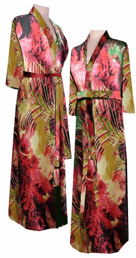 Sold Out Sale Black Peacock Feathers Robe Beautiful Satin Print Plus Size Amp Supersize Satin