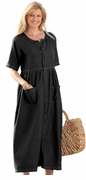 SOLD OUT! SALE! Black Petite Button Front Empire Denim Plus Size Dress  3x
