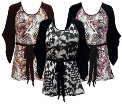 CLEARANCE SALE! Black & White, Pink or Brown & Bronze Animal Plus Size & Supersize Flutter Sleeve Jersey Plus Size Belted Tops 5x