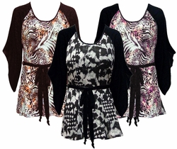 SOLD OUT! SALE! Black & White, Pink or Brown & Bronze Animal Plus Size & Supersize Flutter Sleeve Jersey Plus Size Belted Tops 4x
