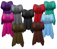 SOLD OUT! SALE! Black. Brown, Charcoal Gray, Olive, Teal, Purple, Pink or Red Babydoll Plus Size Supersize Cotton Blend Jersey Tops 4x