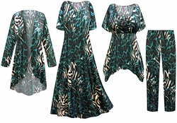 SOLD OUT! Black & Teal Animal Print - Plus Size Slinky Dresses Shirts Jackets Pants Palazzo�s & Skirts - Sizes Lg to 9x