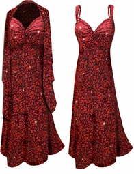 SOLD OUT! Customizable !HOT! Black Slinky w/ Ruby Red Leopard Glitter - Plus Size & SuperSize Princess Seam Dress Set 0x 1x 2x 3x 4x 5x 6x 7x 8x 9x