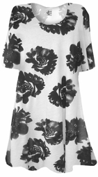 SOLD OUT! Black & White Burnout Big Flowers Print Plus Size & Supersize Extra Long T-Shirts