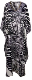 SALE! Plus Size Black & White Geometric Print Long Caftan Dress or Shirt 1x-6x