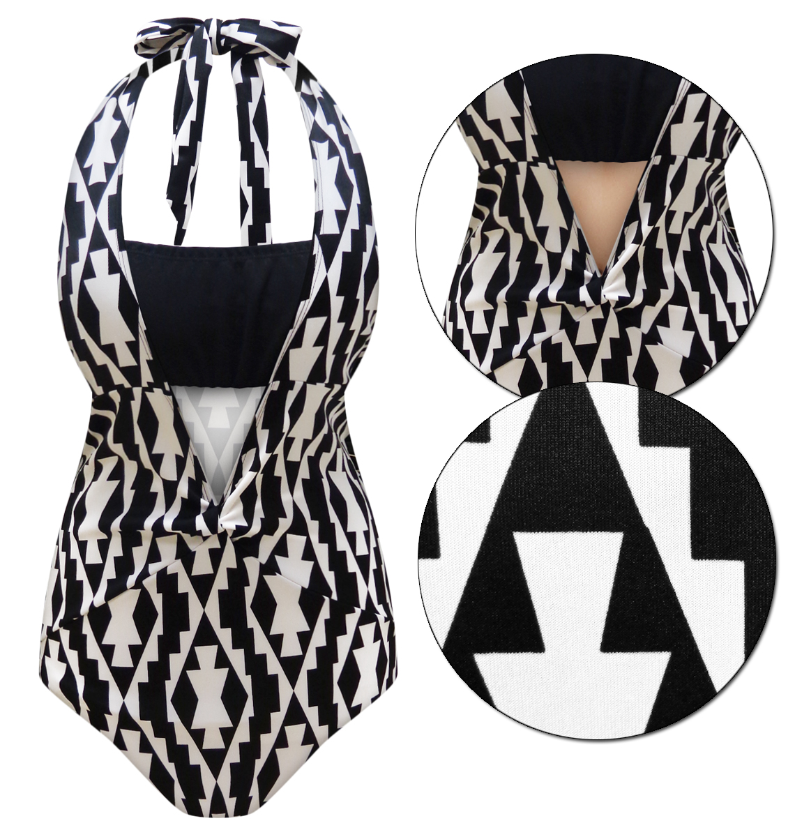 67ccdd4370e Black   White Geometric Print One-Piece Plus Size   Supersize Swimsuit 0x  1x 2x 3x 4x 5x 6x 7x 8x