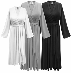 Black, White or Gray Flowy Poly/Cotton Robe - Plus Size Supersize 0x 1x 2x 3x 4x 5x 6x 7x 8x 9x