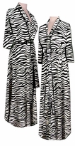 SOLD OUT! FINAL SALE! Black & White Zebra Animal Stripes Robe Beautiful Satin w/ Minor Defects Print Plus Size & Supersize