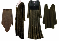 Black With Gold Glimmer Slinky Print - Plus Size Slinky Dresses Shirts Jackets Pants Palazzo�s & Skirts - Sizes Lg to 9x