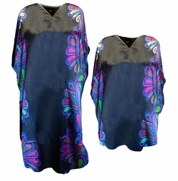 SOLD OUT! SALE! Black With Purple Abstract Border Print Plus Size & Supersize Caftan Dress or Shirt 1x to 6x