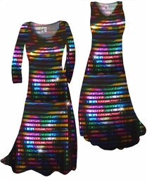 SOLD OUT! Black With Rainbow Rows Metallic Shiny Slinky Print Plus Size & Supersize Standard or Cascading A-Line Dresses & Shirts, Jackets, Pants, Palazzo's or Skirts Lg to 9x