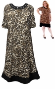 SALE! Black With Square Rhinestone Neckline Brown Cheetah Print Plus Size Mid Length Dress 4x