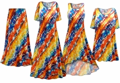 SOLD OUT! Blue and Orange Abstract Slinky Print - Plus Size Slinky Dresses Shirts Jackets Pants Palazzo�s & Skirts - Sizes Lg to 9x
