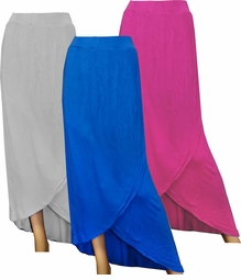 CLEARANCE! Blue, Fuschia, or Gray Long Plus Size Tulip Skirt 4X-30/32