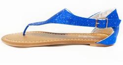 CLEARANCE! Blue Glitter With Clasp Thong Sandal Ladies Sizes 8.5 10