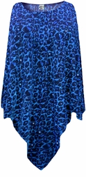 SOLD OUT! CLEARANCE! Blue Leopard Glittery Slinky Plus Size Supersize Poncho