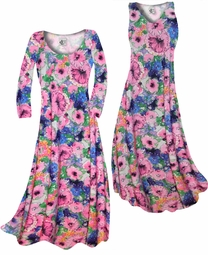 SOLD OUT! Customize Blue & Pink Wildflowers Slinky Print Plus Size & Supersize Standard or Cascading A-Line or Princess Cut Dresses & Shirts, Jackets, Pants, Palazzo's or Skirts Lg to 9x