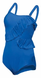 SALE! Plus Size Blue Ruffled Peplum Maillot Swimsuit 2x