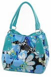 SOLD OUT! SALE! Blue Vinyl Floral Square Handbag