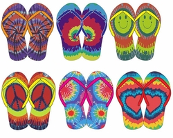 FINAL CLEARANCE SALE! Bright Colorful Tie Dye Peace Heart Smiley Rainbow Flip Flop Shoes M L