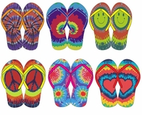 SALE! Bright Colorful Tie Dye Peace Heart Smiley Rainbow Flip Flop Shoes M L